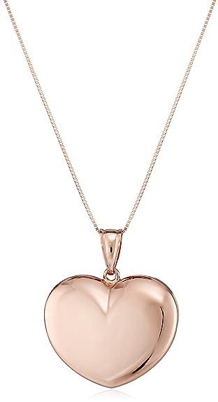 Amazon 14k rose gold puffy heart pendant necklace 18 jewelry 14k rose gold puffy heart pendant necklace 18quot aloadofball Gallery