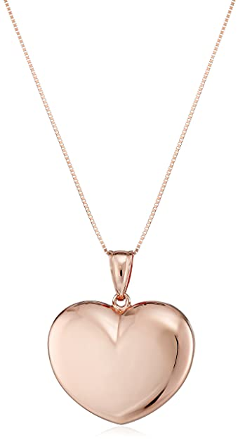 Amazon 14k rose gold puffy heart pendant necklace 18 jewelry 14k rose gold puffy heart pendant necklace 18quot mozeypictures Image collections