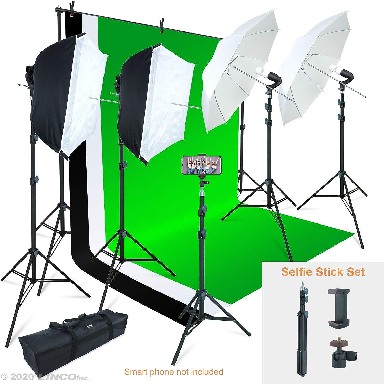 Linco lincostore foto y vídeo Studio Luz Kit AM169 – incluye 3 fondos (de color negro whtie/verde) pantalla de fondo: Amazon.es: Electrónica