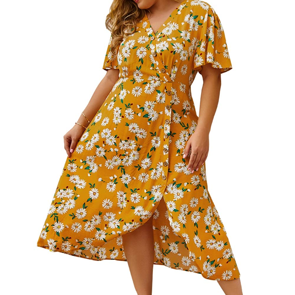 Women's Plus Size Casual Floral Print Dress,Short Sleeve V Neck Button Down High Low Bohemian Beach Flowy Dresses Yellow