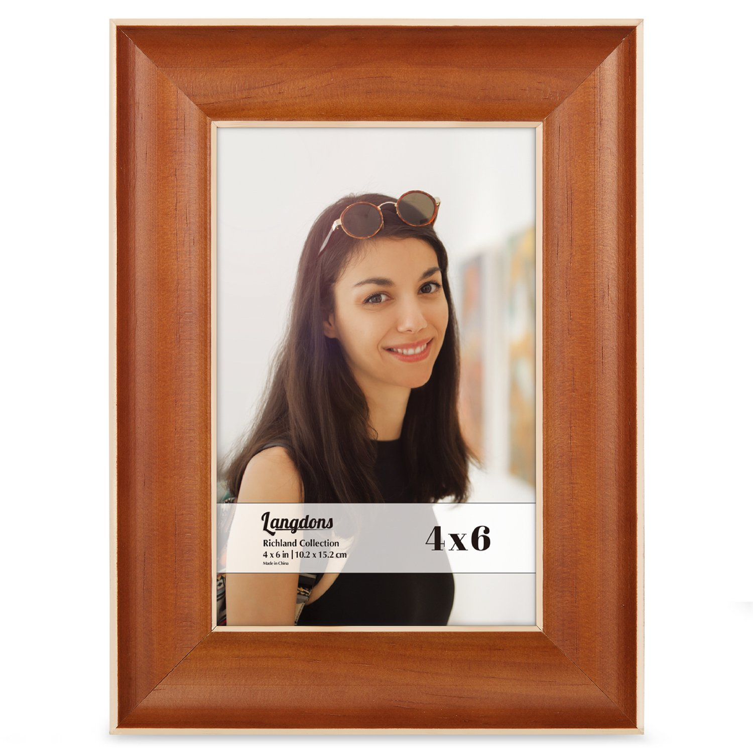 Amazoncom Langdons 4x6 Picture Frame Set 2 Pack Honey Brown