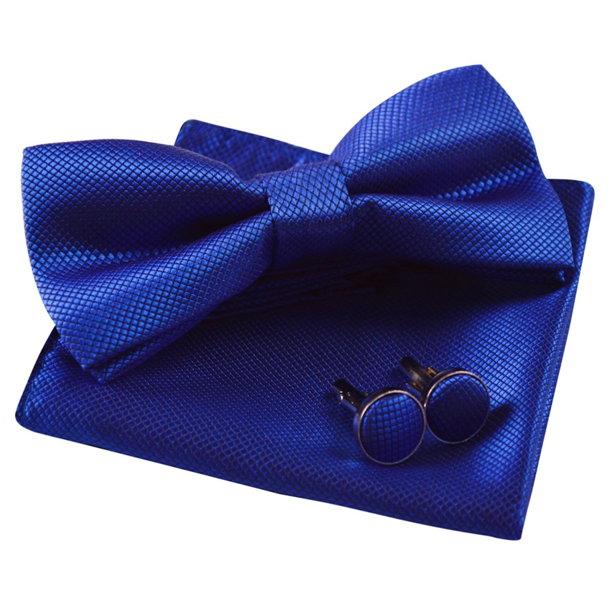 Mens Solid Formal Banded Pre-Tied Bow Ties Set-Royal Blue by Alizeal