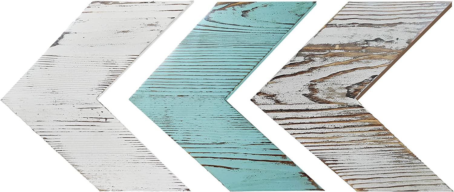 Cocomong Rustic Wooden Arrow Wall Decor - Set of 3 Chevron Sign Room Decor, Vintage Home Decorative Farmhouse Wall Art - Mixed Distressed White Blue & Brown Wood Arrow, Mounted Bedroom Decor