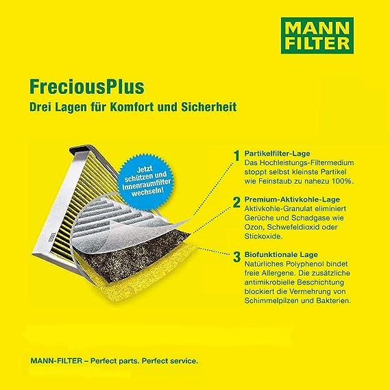 Original Mann Filter Innenraumfilter Fp 2141 Freciousplus Biofunktionaler Pollenfilter Für Pkw Auto