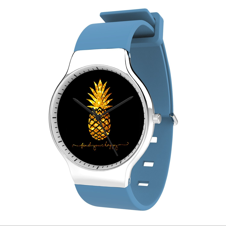 FELOOWSE Gold Pineapple Watch Men'S Quartz Watches, Minimalist Slim Japanese Quartz Youth Silicone Watches, Fashion PracticalWaterproof Boys Watch Customized Watches