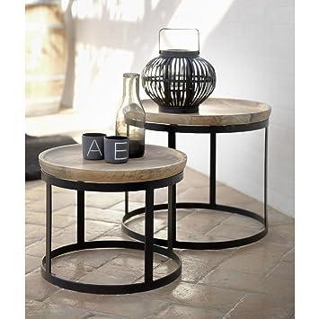 Canett Furniture Pablo 2er Set Beistelltisch Rund Tischplatte Mango