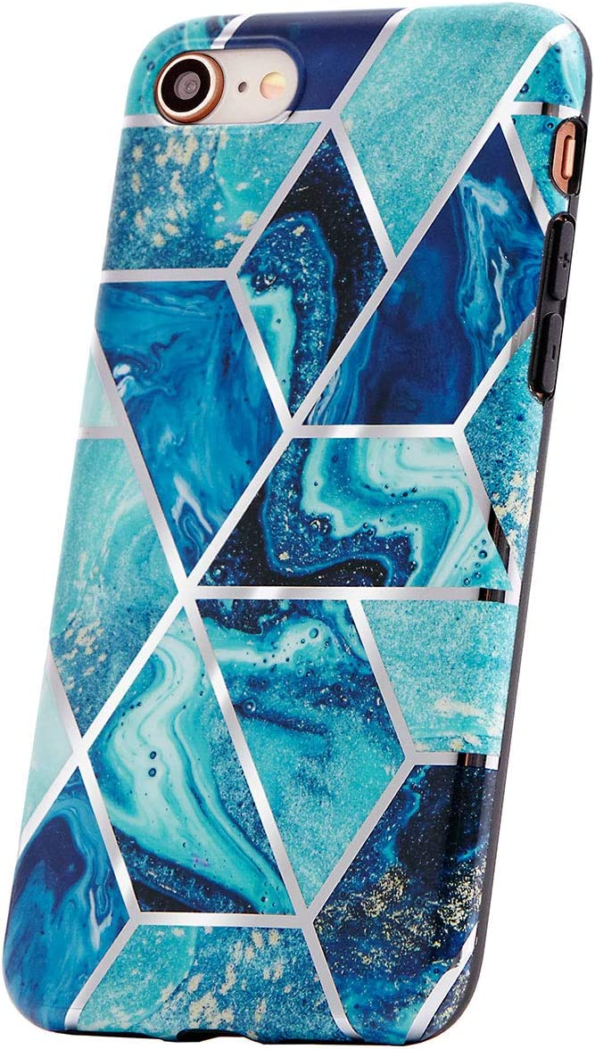 KEEPXYZ Handyh ü lle Compatible with iPhone SE 2020, iPhone 7.8 H ü lle Marble Blue d u nn Silicone Schutzh ü lle TPU Bumper Case Glitter Deep Blue Marble