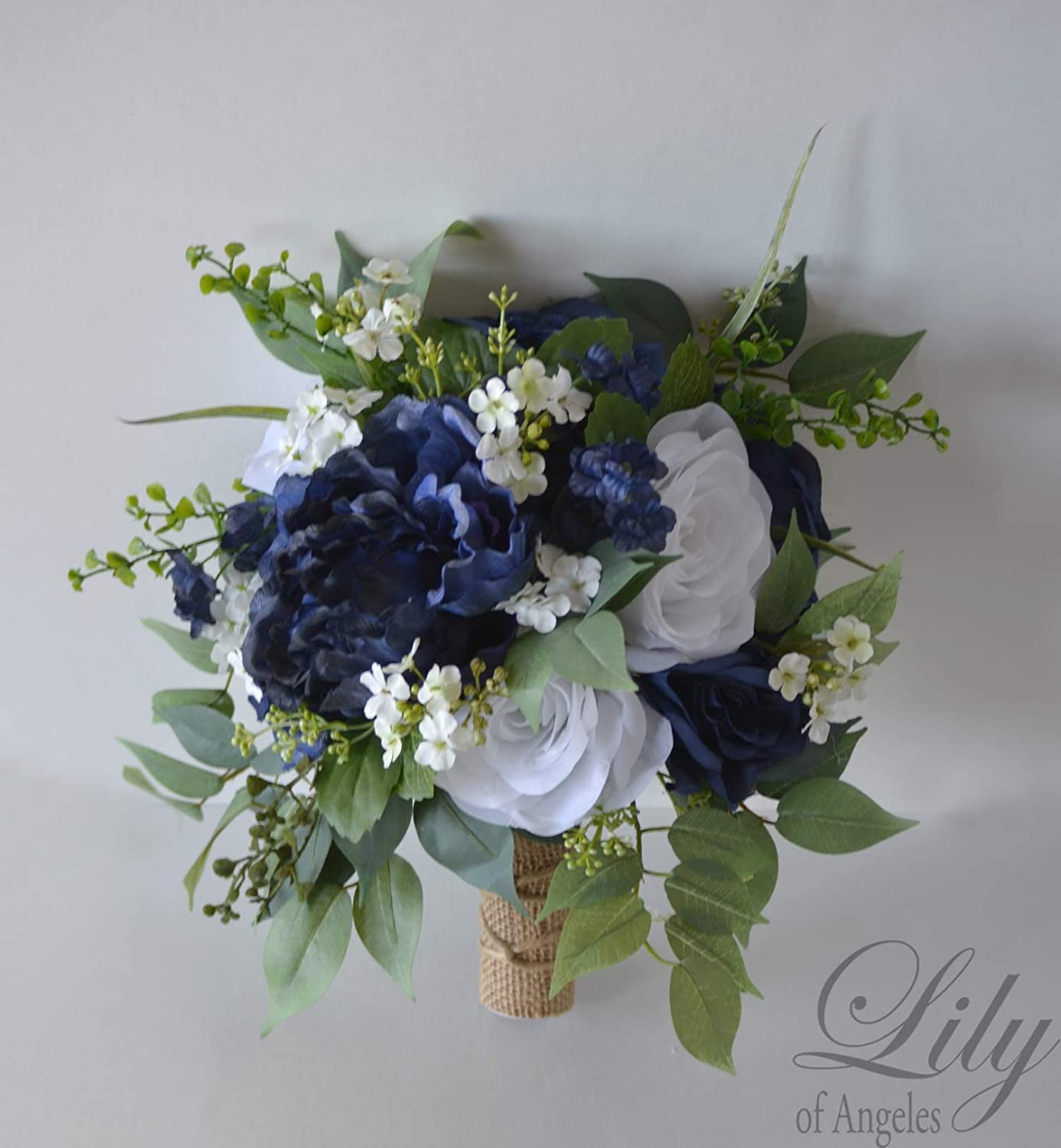 Amazon Com Wedding Bouquet Bridal Bouquet Bridesmaid Bouquet Silk Flower Bouquet Wedding Flower Navy Navy Blue Blue Dark Blue White Off White Greenery Rustic Burlap Twine Lily Of Angeles Handmade