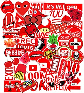AGOUNOD 50pcs Red Stickers Graffiti Stickers Car Skateboard Refrigerator Computer Stickers Waterproof Youth Fans Drinking Glass Guitar Decoration