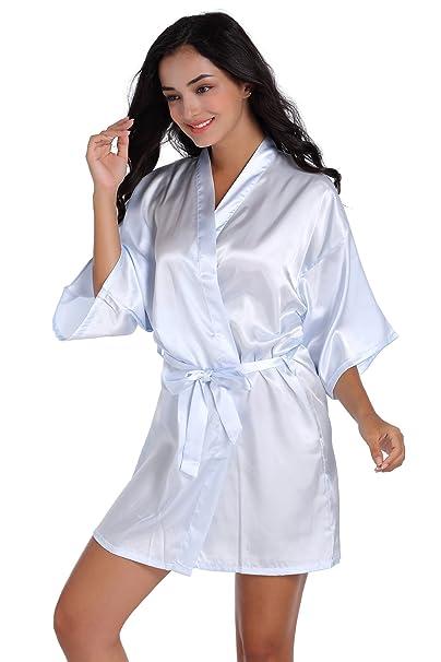 Mujer Pijamas kimono de satén puro Color Corto con Estilo oblicuo cuello de pico (Azul