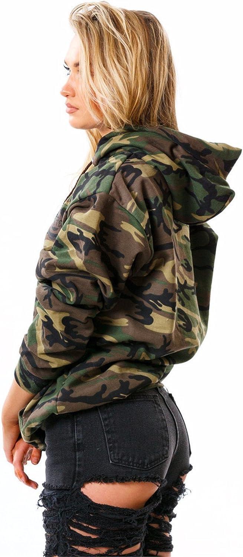 Balakie 2019 Womens Hooded Boyfriend Coat Long Sleeve Drawstring Windbreaker Camouflage Jacket