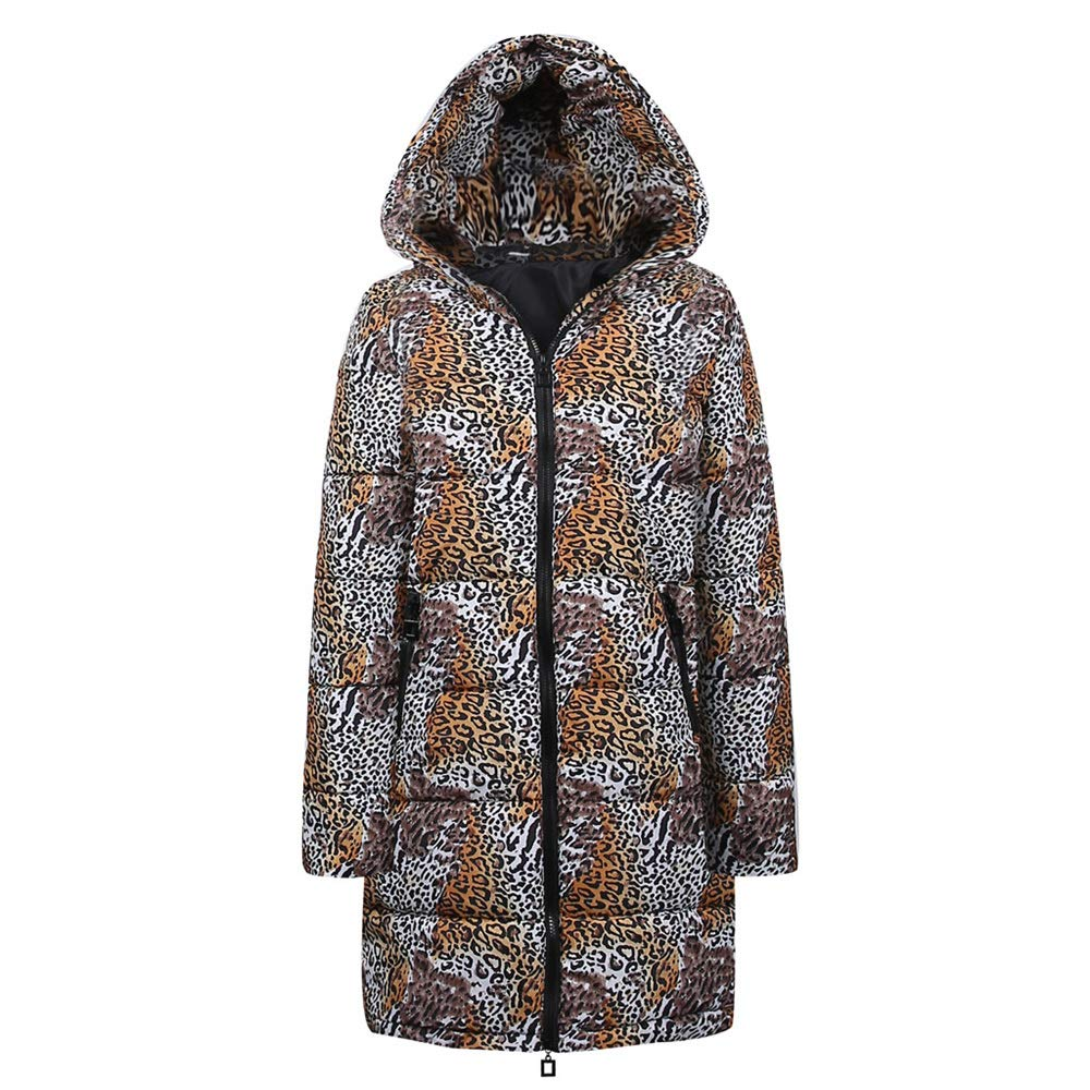 Quelife Womens Winter Long Down Cotton Leopard Print Parka Hooded Coat Jacket Outwear(Yellow,S)