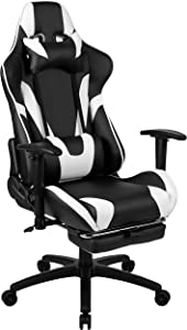 Flash Furniture X30 Gaming Chair Racing Office Ergonomic Computer Chair with Fully Reclining Back and Slide-Out Footrest in Black LeatherSoft