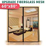 """Upgraded 60""""x80"""" Magnetic Screen Door for French Door, Fiberglass Mesh Curtain Durable, Keep Bug Out Dogs Children Friendly Fit Door Openning Up to 58""""x79"""" Max"""
