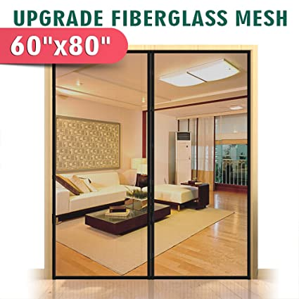 Upgraded 60u0026quot;x80u0026quot; Magnetic Screen Door For French Door, Fiberglass  Mesh Curtain Durable