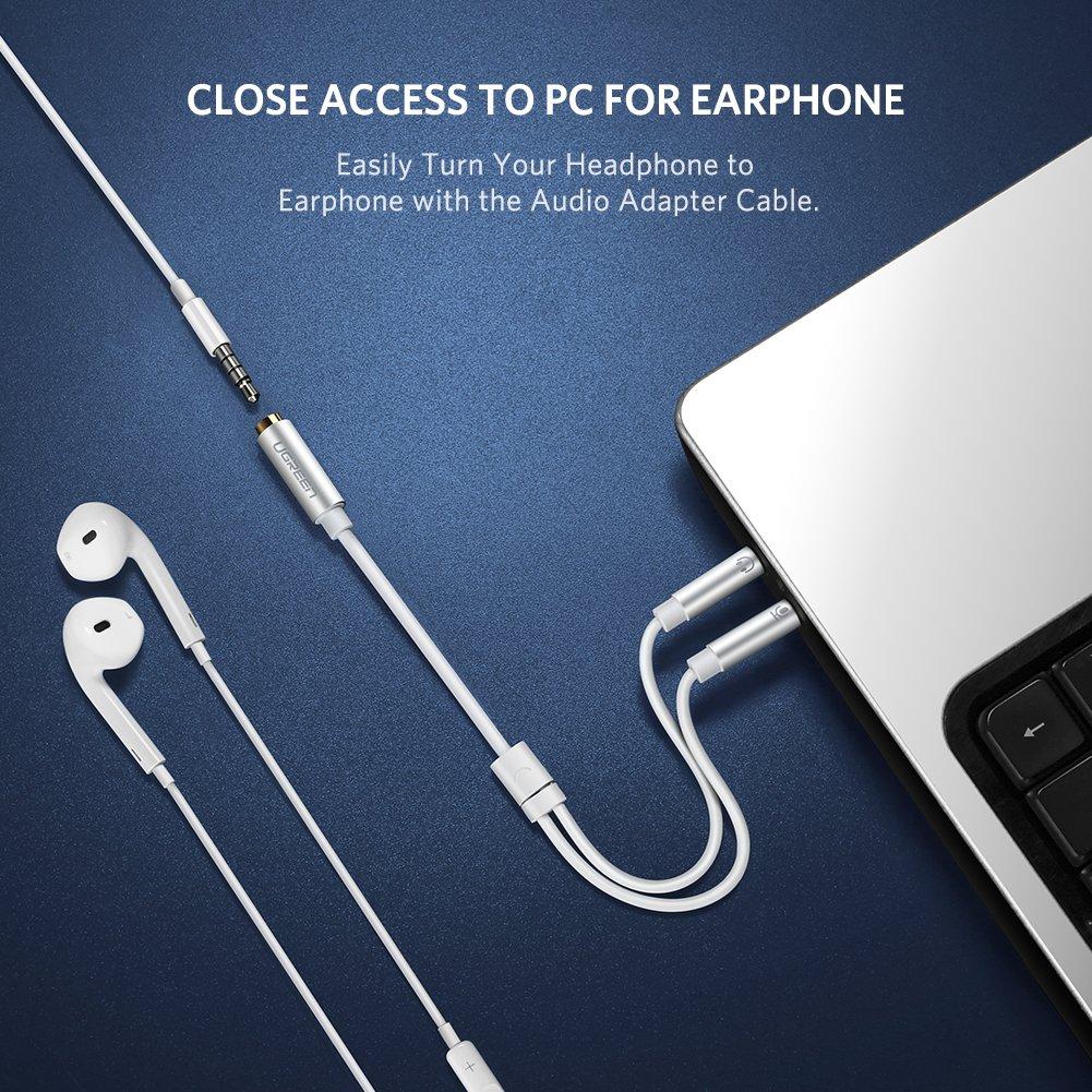 Ugreen Headphone Mic Cable Audio Microphone Splitter 35mm Female Iphone Jack No 7 Further Trrs Wiring Diagram Ctia Standard To 2 Dual Male For Speakerheadphonespc Aluminum