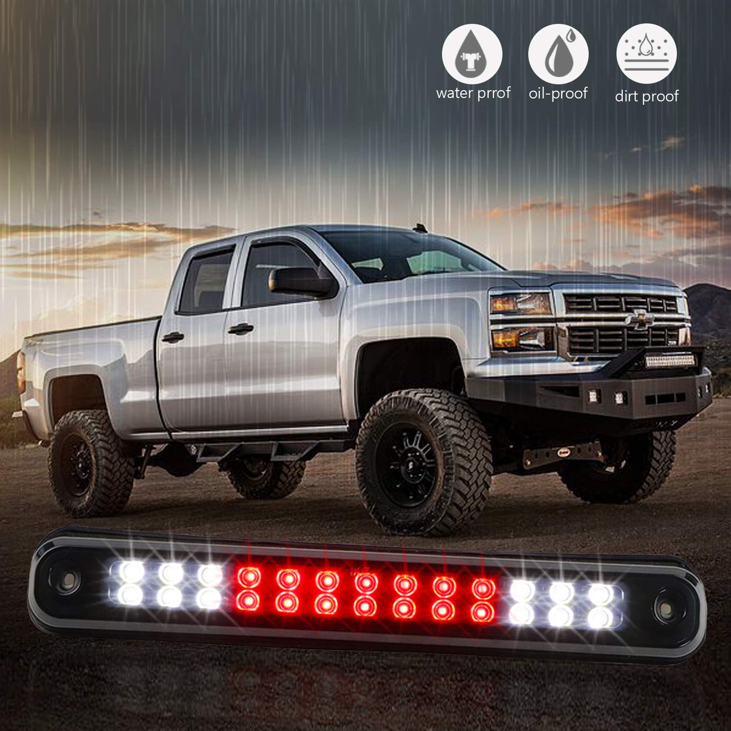 Black Housing Smoke Lens Sanzitop LED 3rd Brake Light Rear Tail Brake Light Cargo Lamp Replacement Fit for 1988-1998 Chevy GMC C//K C10 1500-3500 Silverado Sierra 16521970 16522433