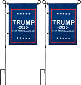 "Bofoho Garden Flag Stand with 12.4 X 17.7 in Donald Trump Flag for President 2020 ""Keep America Great!"" - High Strength Flagpole and Premium Fabric Flag, US Patriotic Yard Lawn Porch Decor (2 Sets)"