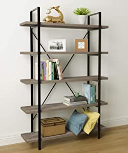45MinST 5-Tier Vintage Industrial Style Bookcase/Metal and Wood Bookshelf Furniture for Collection, Gray Oak (5-Tier)