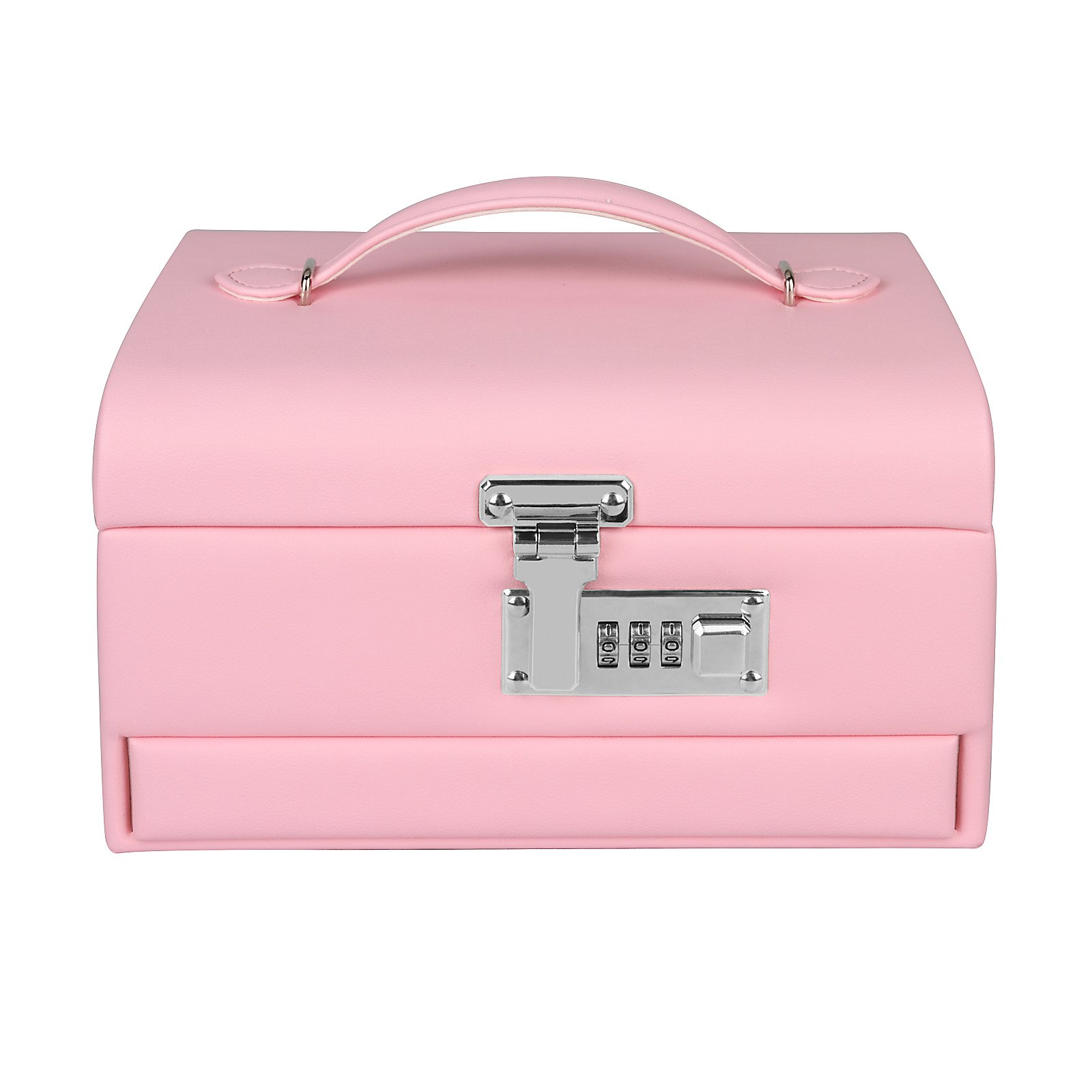 Combination Lock Jewelry Box Organizer for Girls Mirrored Leather Three-Layer 11 Separate Compartment Secret Storage Case, Pink