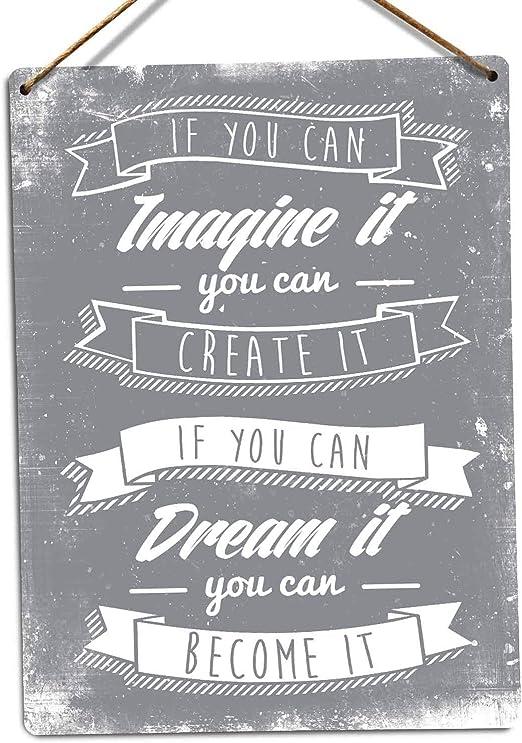 Imagine It BLUE Metal Wall Sign Plaque Art Inspirational Motivational Quote Poem