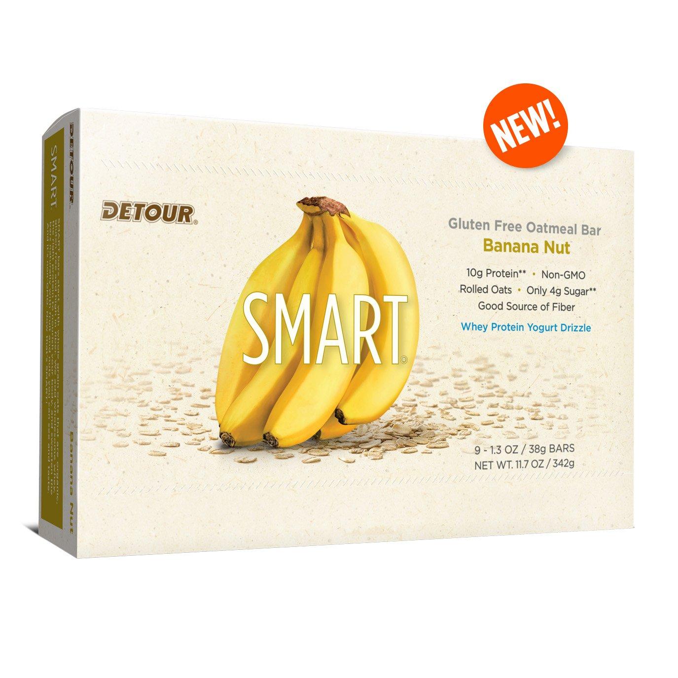 Detour Smart Gluten Free Oatmeal Bar, Banana Nut, 11.7 Ounce, (Pack of 9)