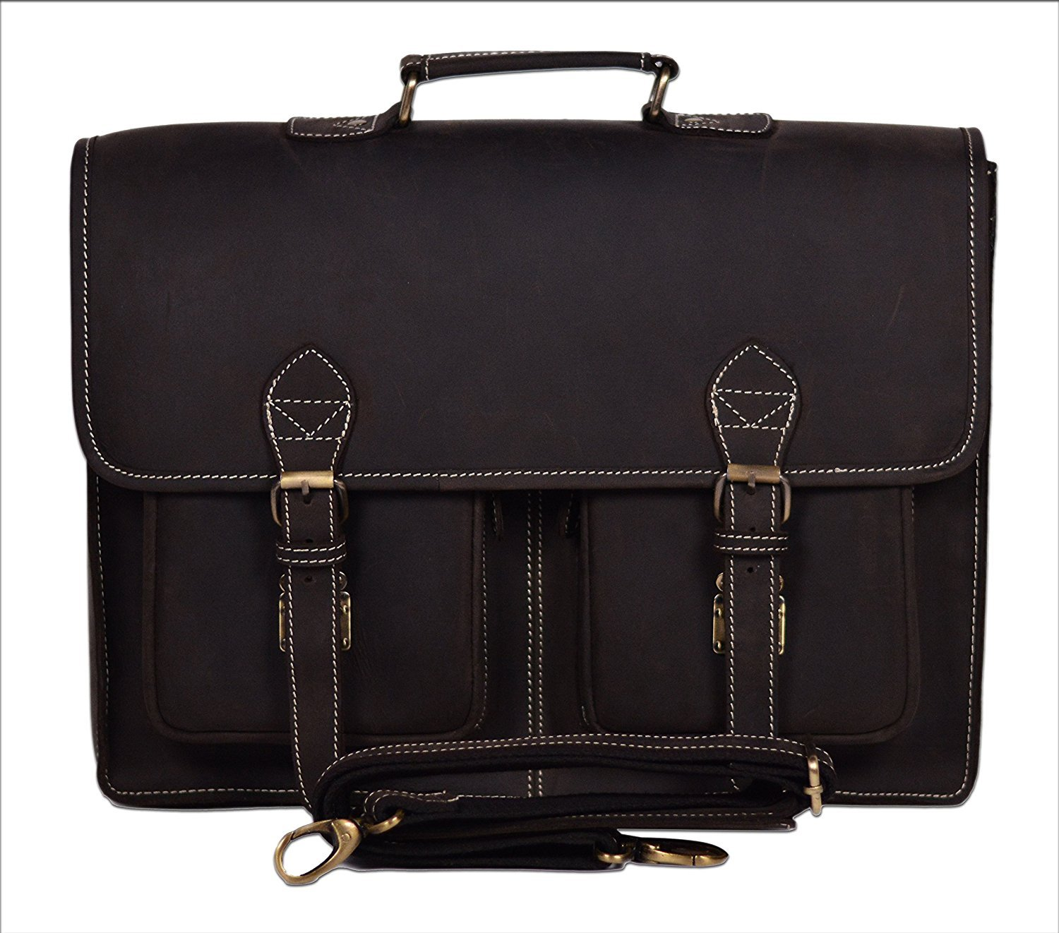 16x12 inch Sperry Retro Buffalo Hunter Leather Laptop Messenger Bag Office Briefcase College Bag