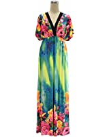 Venetia Morton V-neck Patchwork Print Stretchy Dress Loose Sleeveless Plus Size 6XL 7XL picture XL