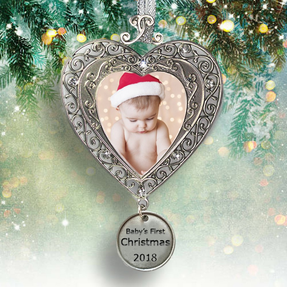 Baby's First Christmas - 2018 Ornament for Newborn - Silver Filigree Heart Shaped Photo Ornament - Baby Ornaments by Banberry Designs