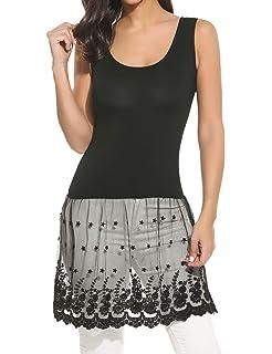 eb28af63a2eb7c Gumod Women s Lace Top Plus Size Casual Basic Tank Vest Lace Extender Bottom  Dress