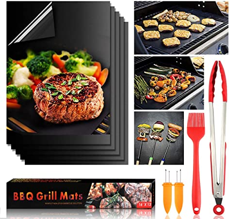 """Food Tongs Copper Grill Mat BBQ Pad Non Stick Barbecue Mat 18/"""" Grill Brush"""