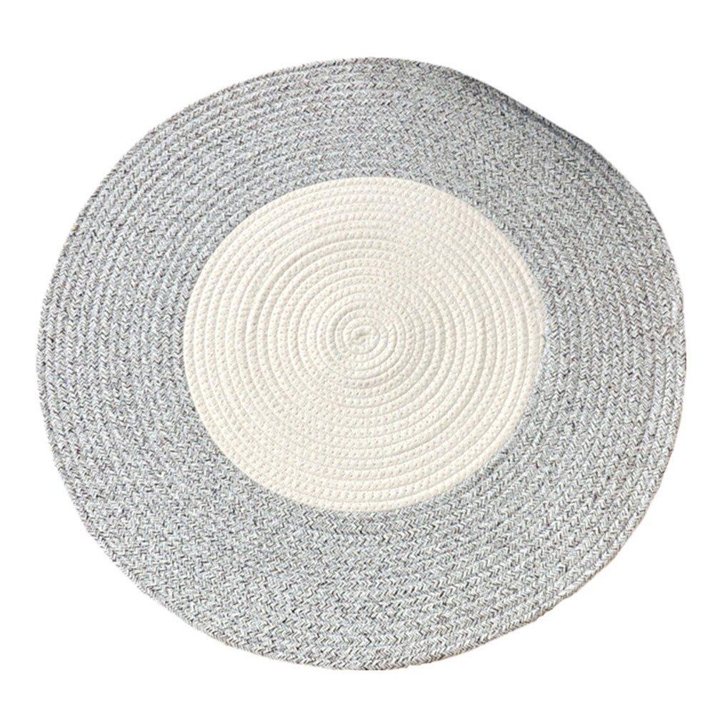 GR Carpet Handgewebte Baumwolle runde Teppich Einfache Tisch Matte, Runde geflochtene Matte kann gewaschen Werden Teppich (Farbe   Coffee beige, größe   D-150cm)