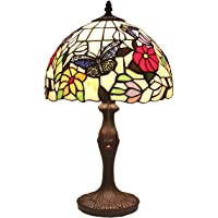 Bieye L41407 Butterfly Tiffany Style Stained Glass Table Lamp Night Light with 12 inch Wide Handmade Lampshade for…