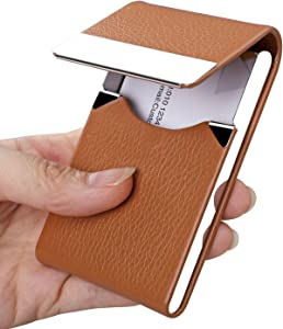 JuneLsy Business Card Holder Case - Professional PU Leather Business Card Case Metal Name Card Holder Pocket Business Card Carrier for Men & Women with Magnetic Shut (Apricot)