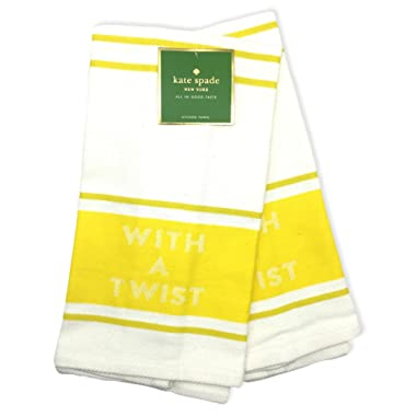 Kate Spade Kitchen Towel Set of 2, 'With A Twist', 17x 28 in, Yellow/White