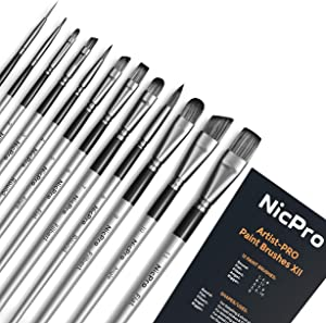Nicpro 12 PCS Acrylic Paint Brushes Artist Taklon Painting Brush Set for Watercolor Oil Gouache Ceramic Face Body Shoes Craft Model, Kid & Adult Art Paintbrushes