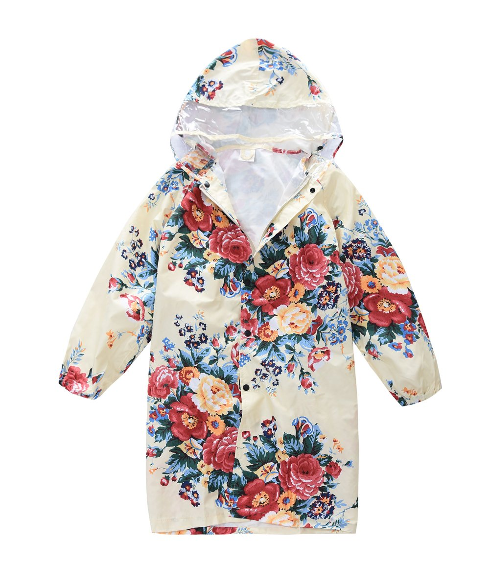 M2C Girls Hooded Waterproof Raincoat with Space for School Bag 10/12