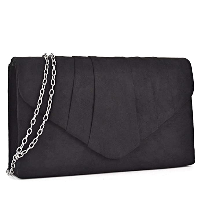 1940s Handbags and Purses History Dasein Womens Evening Bag Velvety Pleated Envelope Clutch Handbag Wedding Party Bridal Purse $13.99 AT vintagedancer.com