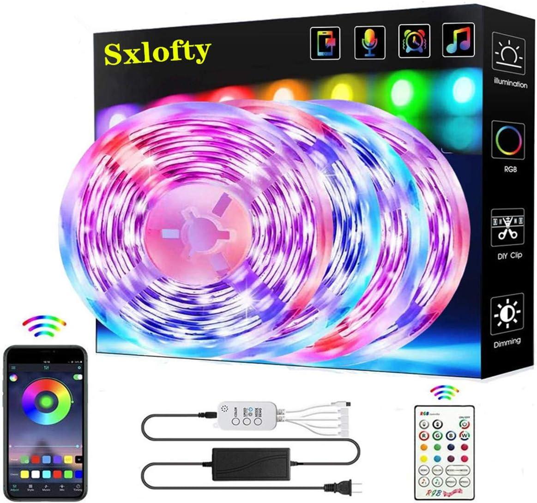 65.6FT/20M LED Strip Lights, Sxlofty RGB LED Light Strip Music Sync RGB LED Strip,5050 SMD Color Changing LED Strip Light Bluetooth Controller + 23 Key Remote LED Lights for Bedroom Home Party