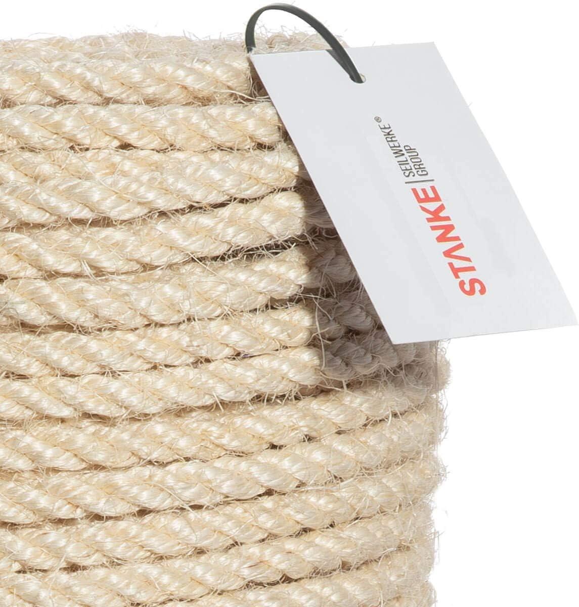 Seilwerk STANKE Corde de sisal Torsad/ée 10 m 18 mm Fibress Naturelles Corde Naturelle Grattoir pour Chat
