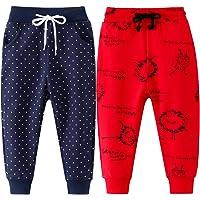 FAIRYRAIN Paquete de 2 pantalones deportivos deportivos con cordón elástico para niños pequeños y niñas