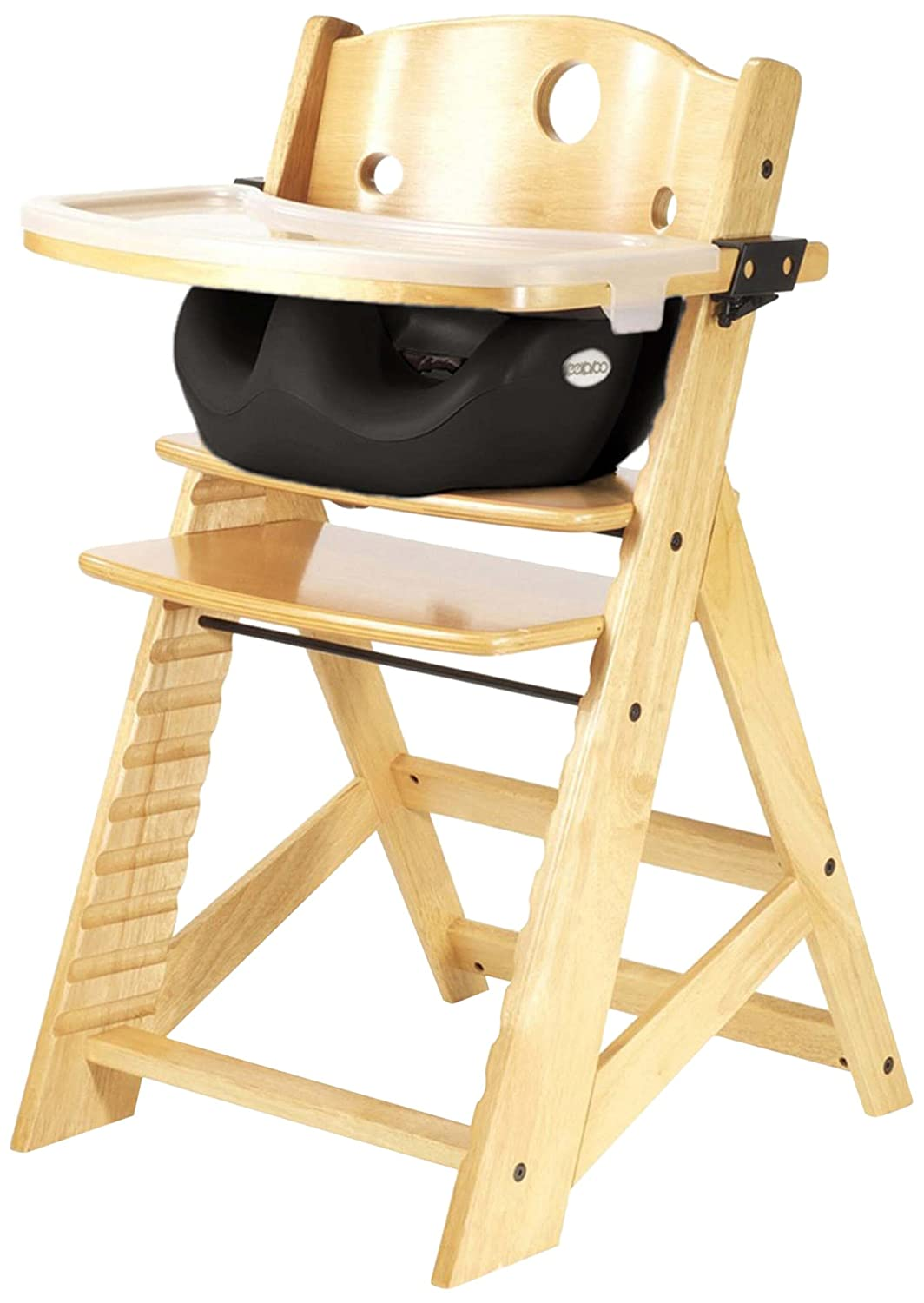 Keekaroo Height Right High Chair Natural with Black Infant Insert and Tray, Natural/Black