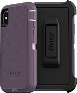 OtterBox Defender Series Rugged Case & Holster for iPhone Xs & iPhone X - Non-Retail Packaging - Purple Nebula (with Microbial Defense)