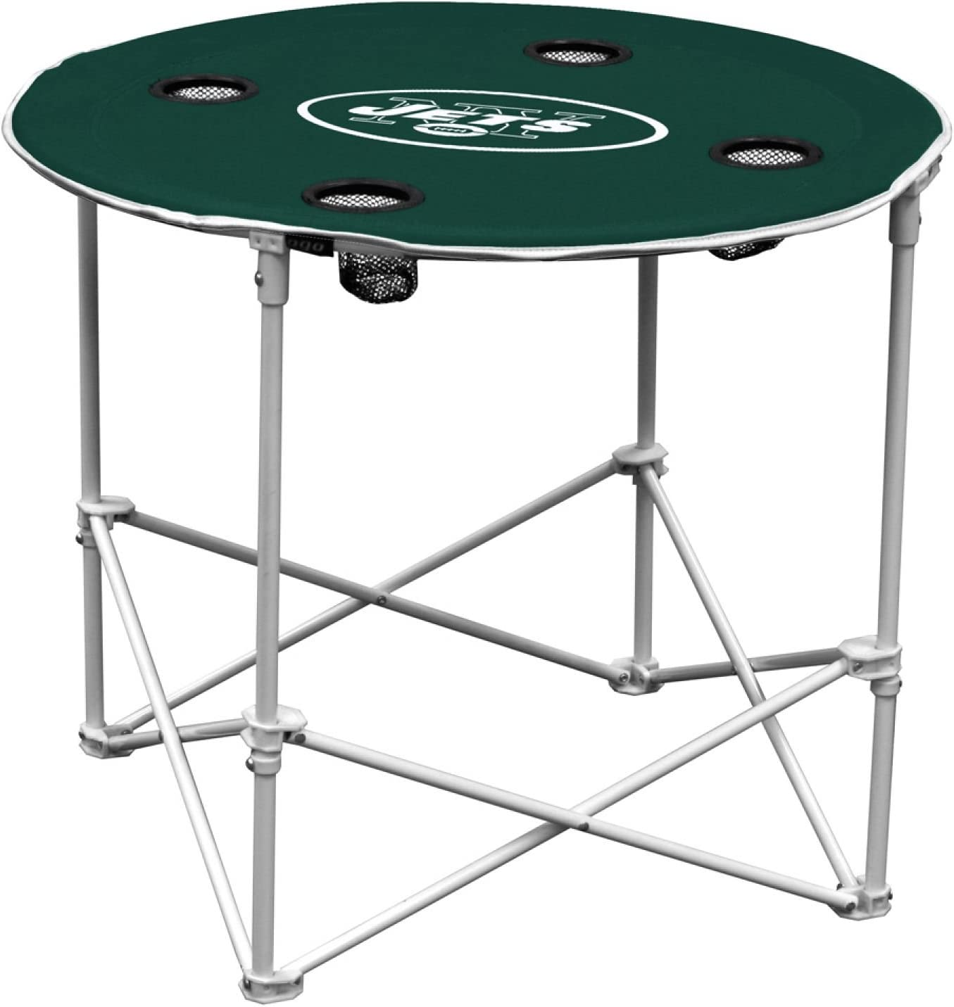 New York Jets  Collapsible Round Table with 4 Cup Holders and Carry Bag Multi