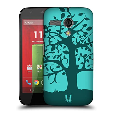 Head Case Designs Swirly de árboles carcasa rígida para Motorola teléfonos 1, plástico, turquesa, Motorola Moto G (1st Gen)