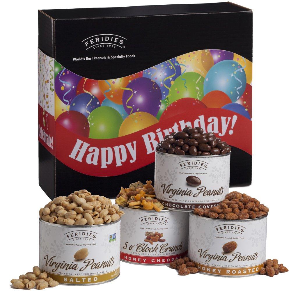 FERIDIES Favorite Foursome Virginia Peanut and Snack Mix Gift Set- Happy Birthday Celebration