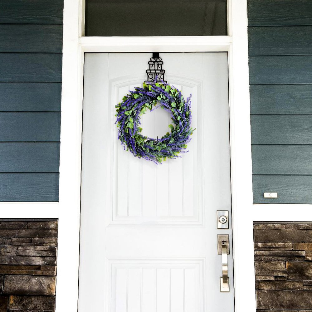 Evoio Artificial Lavender, 17'' Wreath DIY Silk Flowers Garland Pendant for Front Door Wall Home Wedding Decoration- purple by Evoio (Image #5)