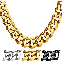 U7 Men Jewelry Stainless Steel Base Curb Cuban Chain, 3MM-12MM Wide, 18-30 Inch Men Chain