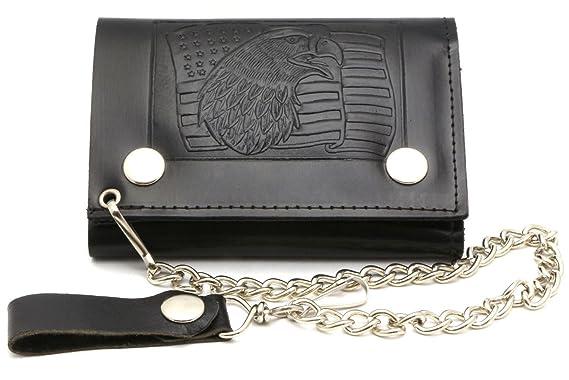 73049f5ea414 Trifold USA Made Large Black Genuine Leather Biker Wallet Eagle ...