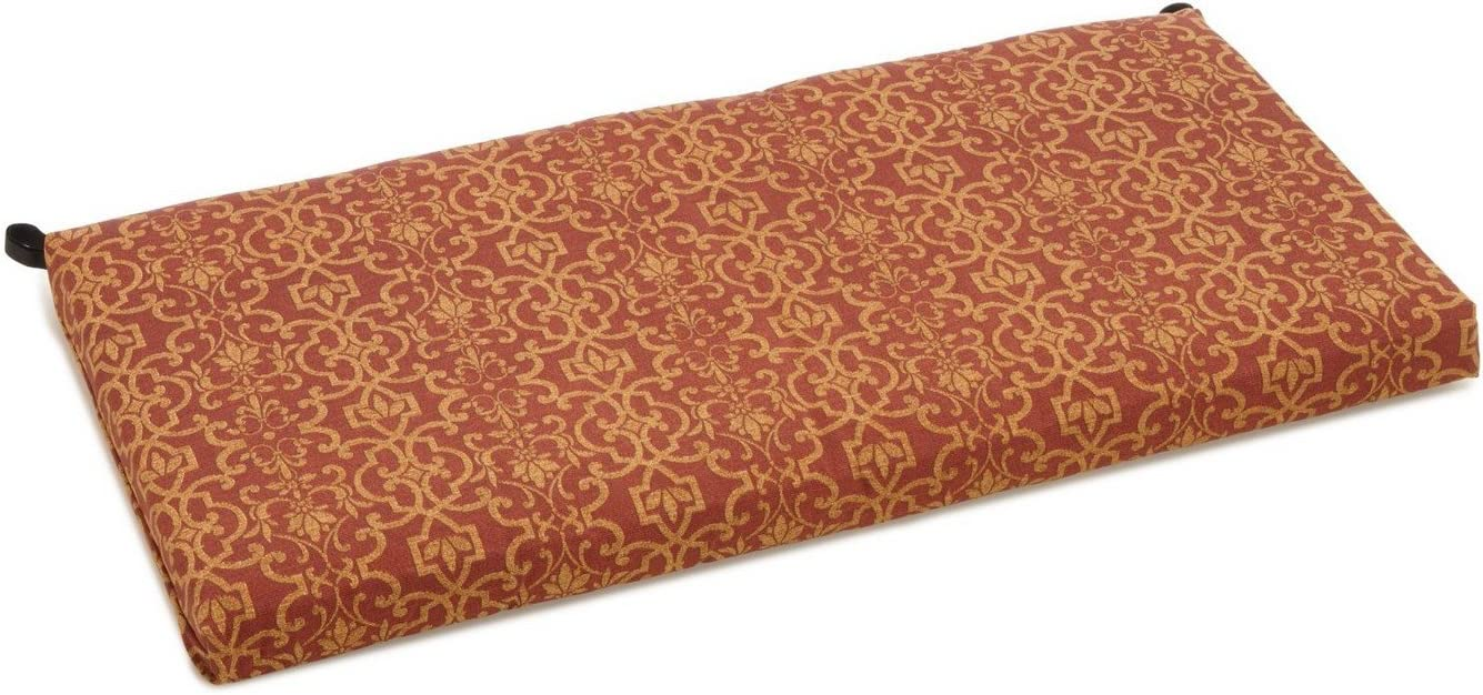 Blazing Needles Patterned Outdoor Spun Polyester Loveseat Cushion, 40 Wide, Vanya Paprika